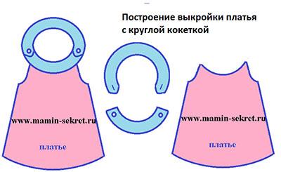 построение выкройки платья с круглой кокеткой