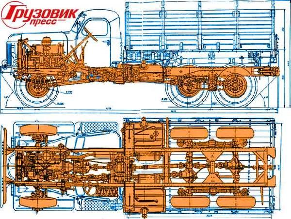Схема шасси ЗИЛ-157
